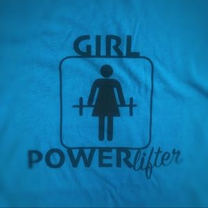 Girl Powerlifter turquoise Next Level T Brand New